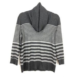 Spense Gray Cowl Neck Striped Pullover Sweater